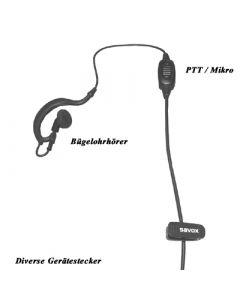 1Wire FBI-Garnitur Bügelohrhörer mit Inline PTT/Mikrofon