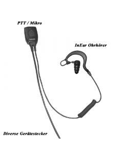 2Wire FBI-Garnitur mit In-Ear Ohrhörer, separates PTT/Mikrofon