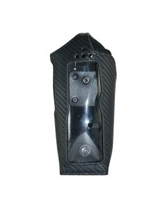 Funkholster Leder in Carbon-Optik mit Rotationsclip mit Arrietierungsknopf / zu POLYCOM TPH700
